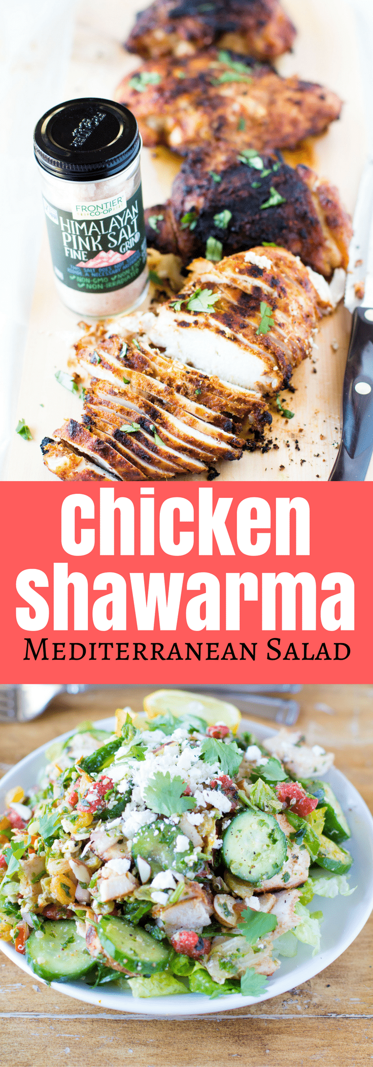 Chicken Shawarma Mediterranean Salad - flavorful juicy chicken, grilled to perfection on top a crunchy super chopped salad for flavor in every single bite! Gluten Free
