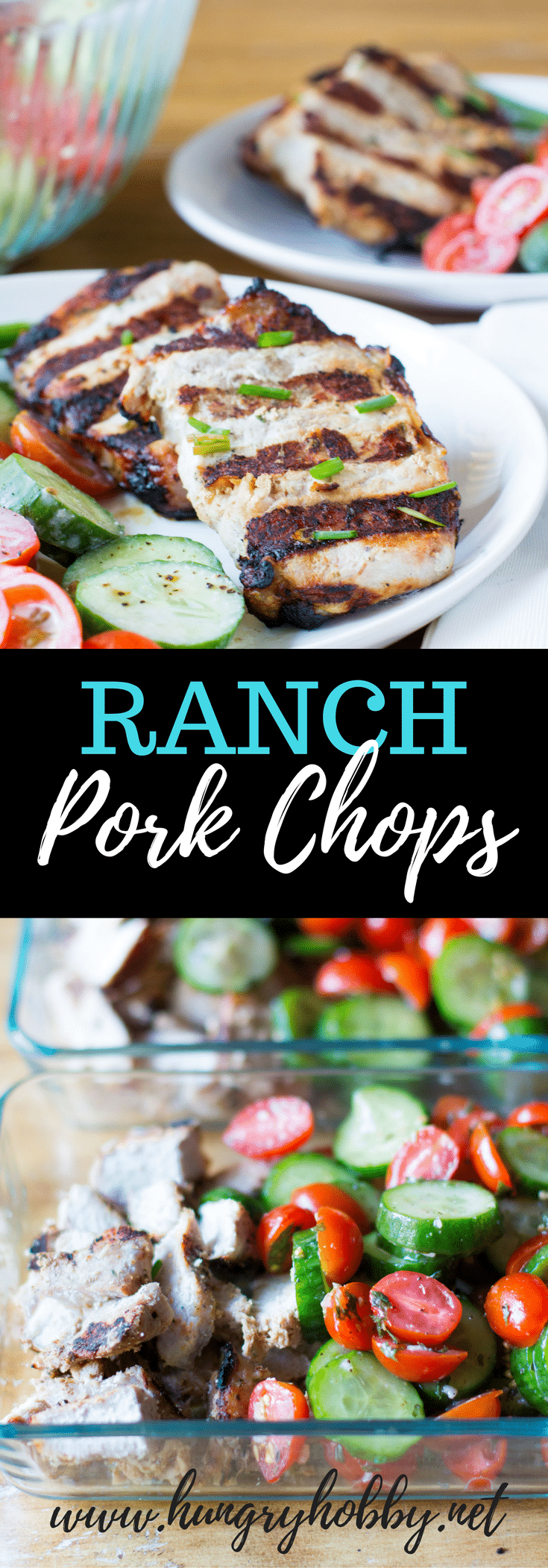 Grilled Ranch Pork Chops are marinated in rich buttermilk, then grilled to perfection. Serve with Cucumber Tomato Salad tossed with Greek Yogurt Feta Ranch!