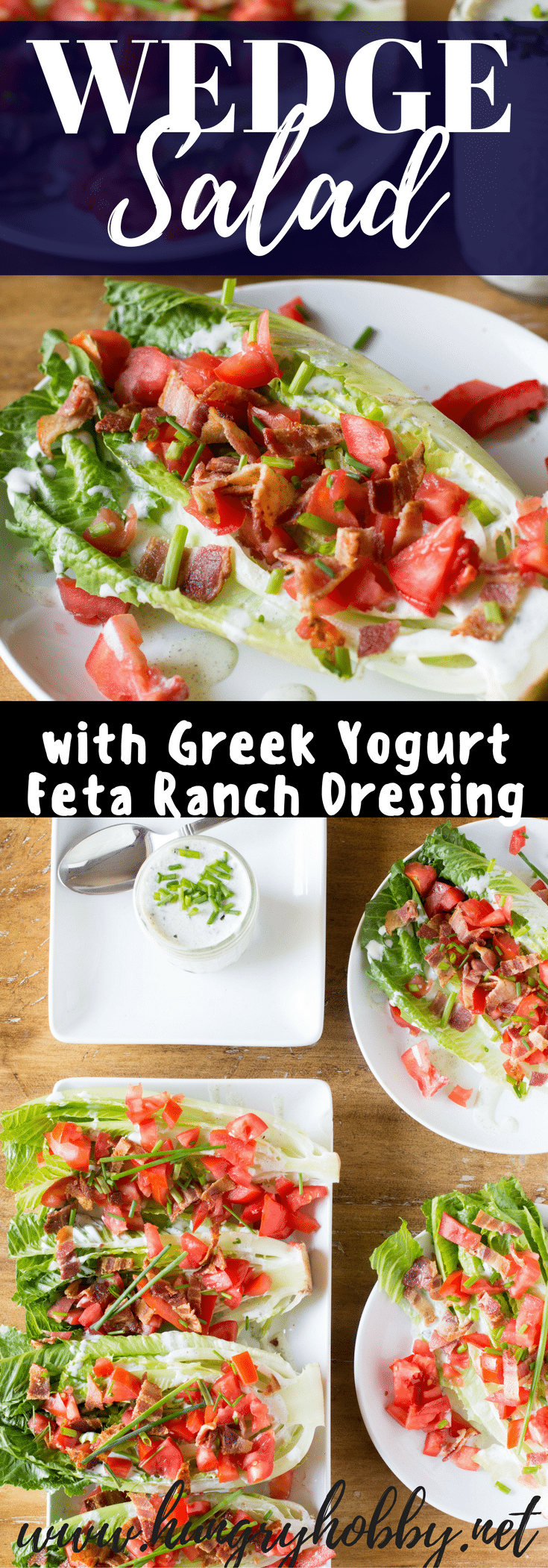 My twist on the traditional wedge salad uses romaine hearts and Greek yogurt feta ranch for a slightly healthier tailgating win!