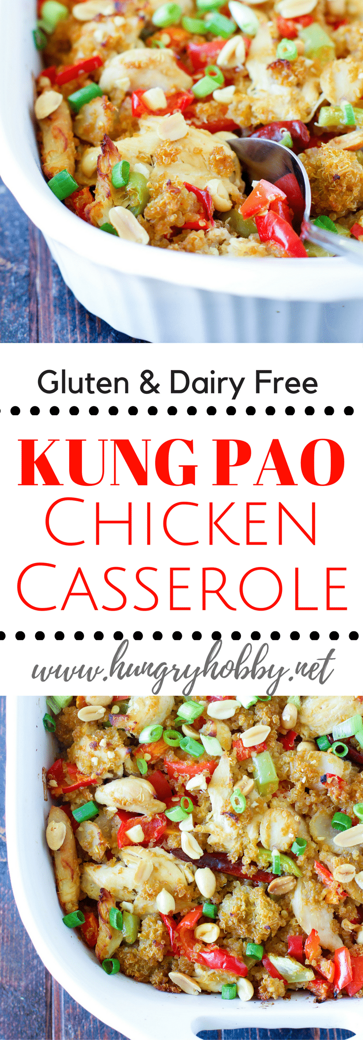 Kung Pao Chicken Casserole is BURSTING with flavor, plus it will feed a crowd or serve the best meal prep ever.  It's gluten & dairy free, plus it freezes well!