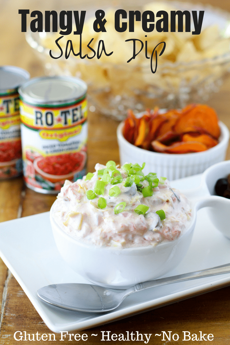 This goat cheese salsa dip can be thrown together in 5 mins with pantry staples! It's a little bit tangy, a little bit spicy, & full of goodies in every bite! #DipForTheWin @roteltomatoes @walmart