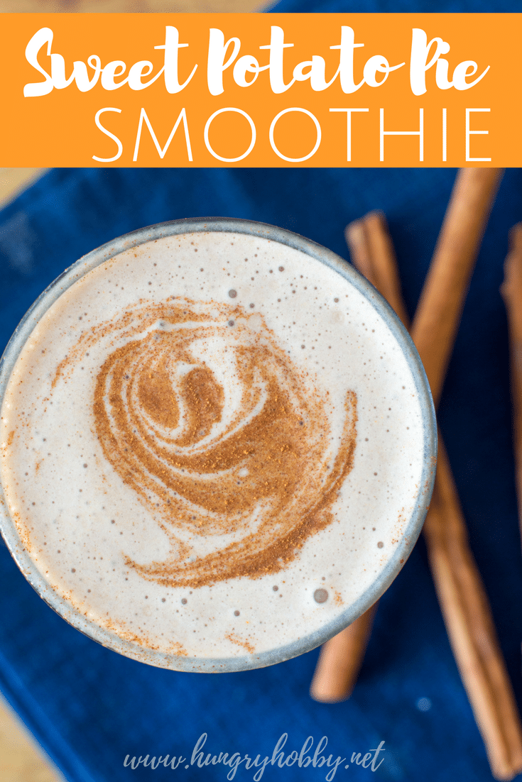 #AD: Frozen sweet potato in your smoothie provides steady long lasting energy compared to fruit and tastes like a delicious pie! Gluten & Dairy Free #bonebroth #protein #ancientnutrition #sponsored