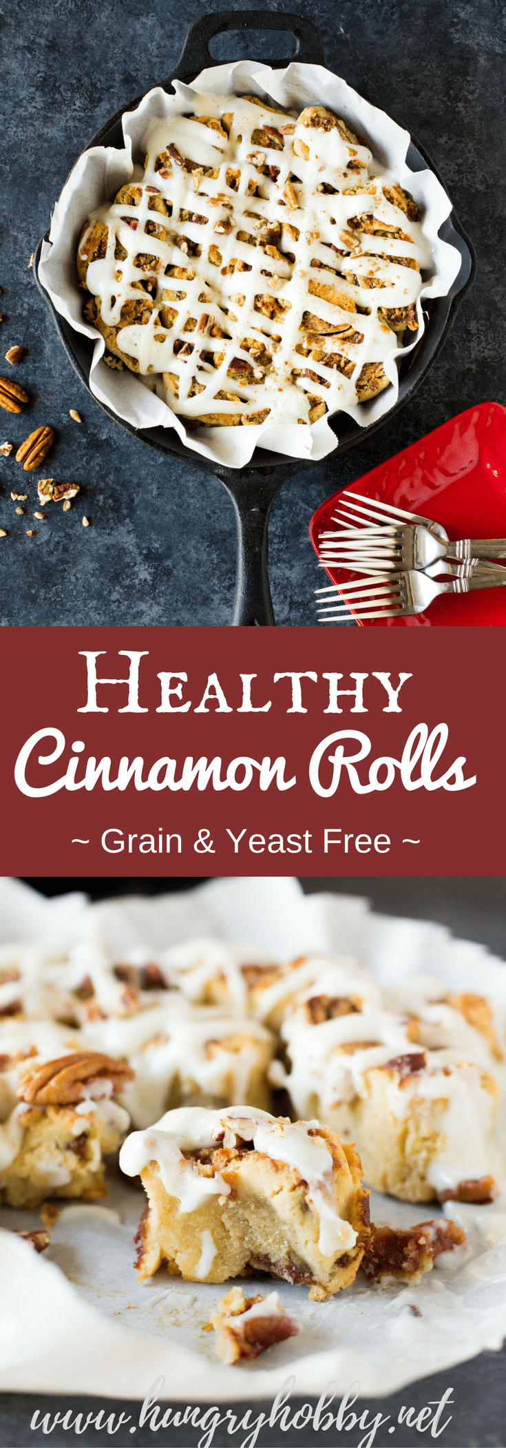 Healthy Cinnamon Rolls without yeast, refined grains, or refined sugar.  Doused with an optional greek yogurt cream cheese frosting!