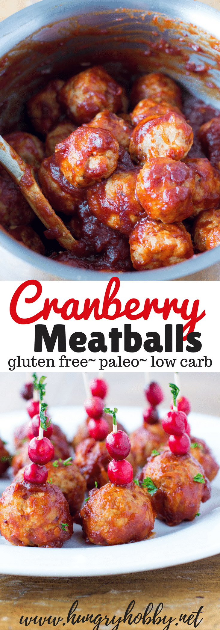 These cranberry meatballs are the perfect combination of savory and sweet,  a healthy holiday appetizer or dinner that will feed and impress a crowd.  #glutenfree #dairyfree #appetizer #football #paleo #meatballs