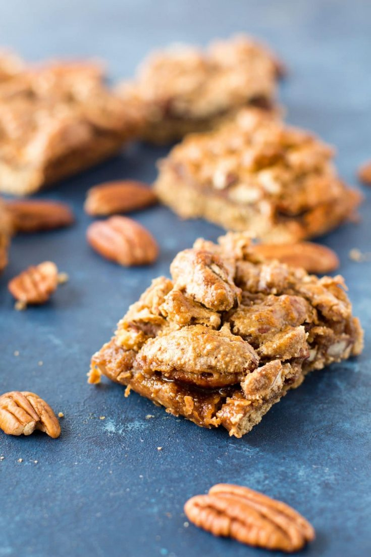 Gluten Free Pecan Pie Bars with Oatmeal Crust