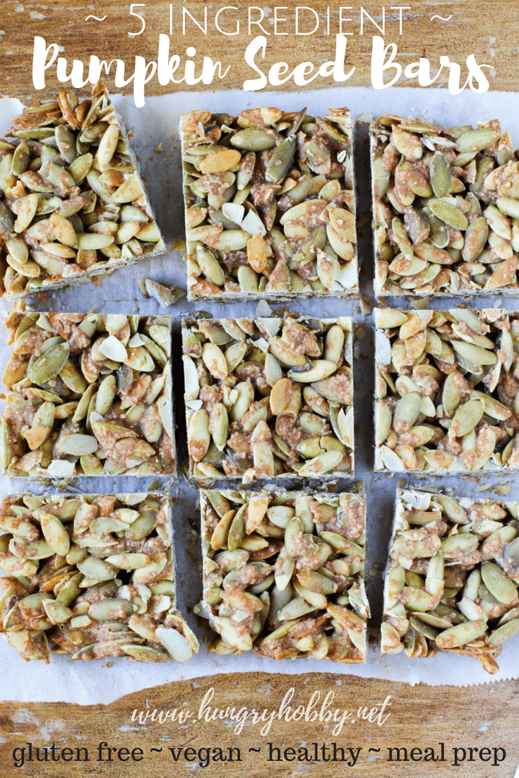 These five-ingredient pumpkin seed bars are full of wholesome ingredients & they are super easy to whip up! The perfect salty-sweet anytime snack or breakfast! #glutenfree #vegan #vegatarian #snack #easyrecipe
