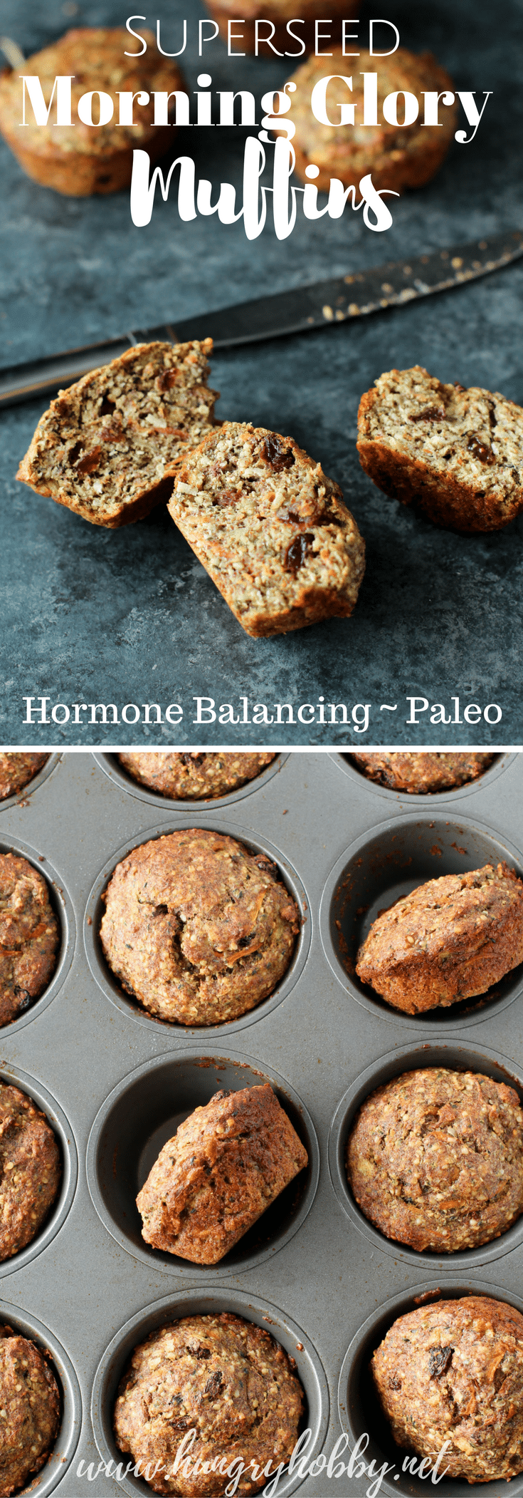 Super-seed Morning Glory Muffins are slightly sweet, moist, very nutty and filling! They also promote hormone balance for ladies when used for seed cycling! #glutenfree #paleo #breakfast #seedcycling #hormonebalance #grainfree