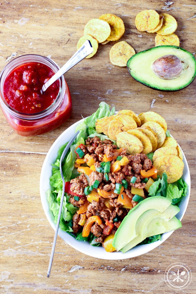 Paleo Taco Salad with Plantain Chips