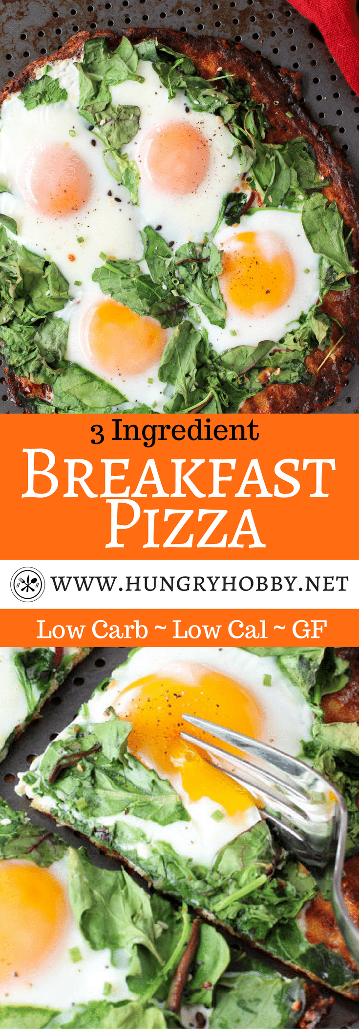 3 Ingredient Healthy Breakfast Pizza Recipe is a delicious way to start your day or unbelievable breakfast for dinner! #lowcarb & #glutenfree friendly! @califlourfoods #hungryhobby #CutTheCarbs #lowcarbpizza #ketopizza #cauliflowerpizza #vegetarian