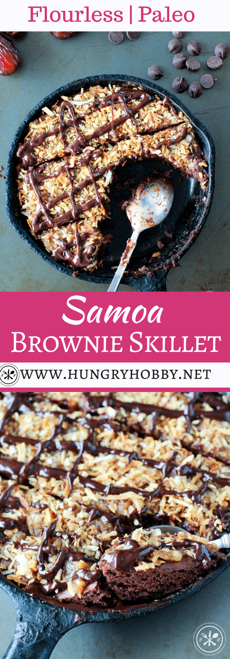 This Flourless Samoa Brownie Skillet is perfect when you want a little dessert around but not an ENTIRE batch of brownies, you feel me? Chewy fudgy brownie topped with date caramel and toasted coconut flakes, it's good, REAL good! #hungryhobby #glutenfree #dairyfree