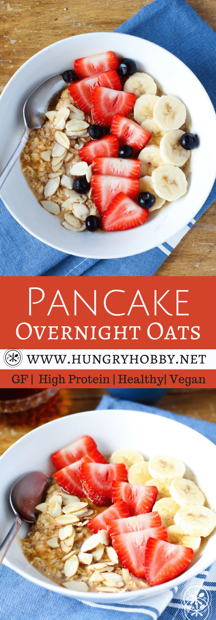 Do you want oatmeal or pancakes for breakfast but don't have time for either? No problem, pancake overnight oats give you a healthy quick meal that satisfies both cravings at once. #glutenfree #vegan #healthy #recipes #overnightoats #oats #pancakes #hungryhobby