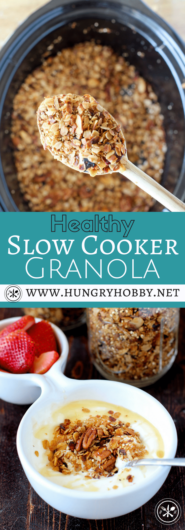 Who knew you could actually make granola in the slow cooker?!?!?! I tried it for you guys and I'm sharing the pros and cons of using this method to make delicious crunchy golden brown granola!  #hungryhobby #glutenfree #slowcooker #granola #healthy #recipes