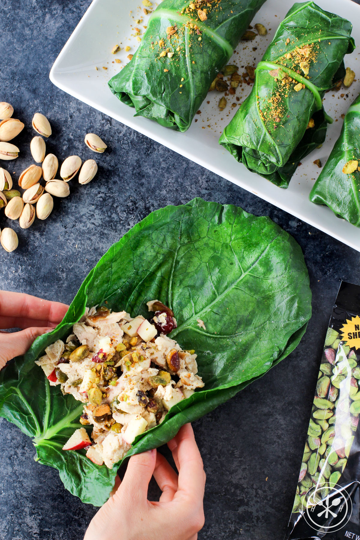 Pistachio Chicken Salad Collard Green Wraps - Paleo, Gluten Free