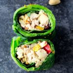 Pistachio Chicken Salad Collard Green Wraps