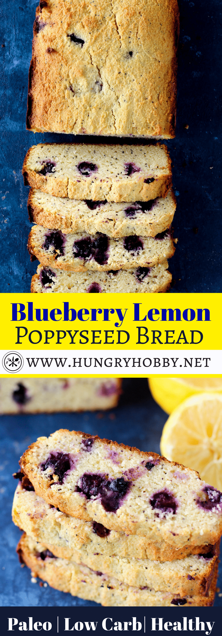 This #healthy blueberry lemon poppyseed bread is moist, bursting with warm blueberries, and exploding with lemon flavor, you'd never know it's healthy! I ate it for both breakfast and snacks, the perfect grab and go healthy sweet treat! #glutenfree #paleo #healthy #hungryhobby #dairyfree #breakfast #snack #bread