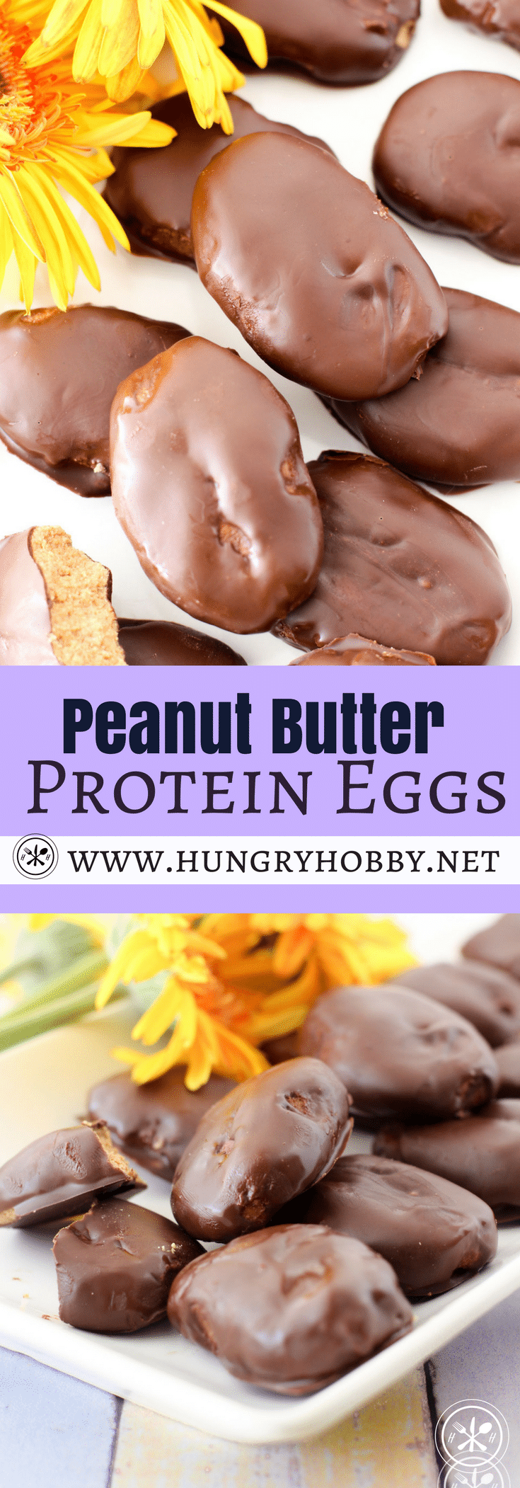 Love peanut butter eggs?  This version of peanut butter eggs is packed with protein but you'd never know it because it tasted just as good as the real thing!  #cleaneating #glutenfree #dessert #protein #peanutbutter #easter #hungryhobby