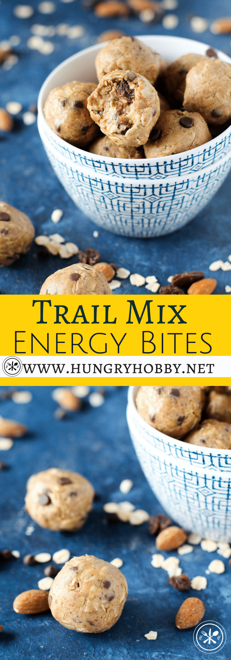 I've been making these trail mix energy bites to stave off #morningsickness whenever I feel it coming on! They are a quick healthy on the go snack that tastes like a handful of trail mix in cookie dough form!  #healthy #glutenfree #snack #hungryhobby #proteinballs #energyballs #amazeballs #healthysnack #proteinbites #energybites