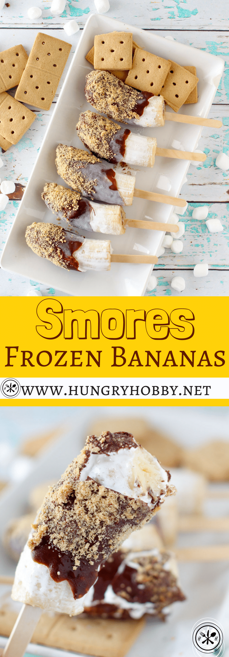 This Smores Frozen Banana #Dessert is the perfect way to get your smores fix in a slightly healthier fashion!  #glutenfree #dairyfree #smores #hungryhobby #healthydessert