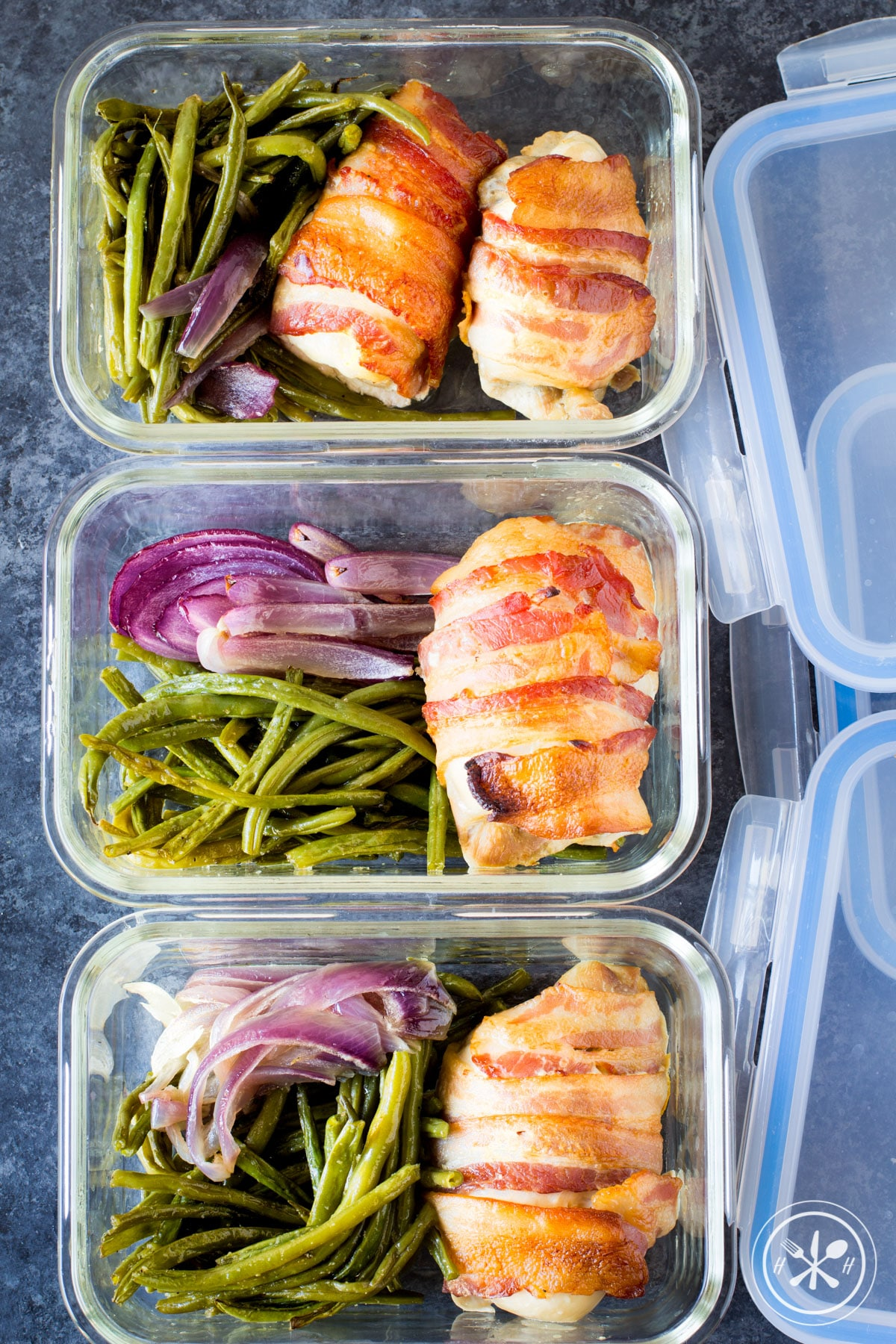 Sheet Pan Bacon Wrapped Chicken Thighs and Green Beans