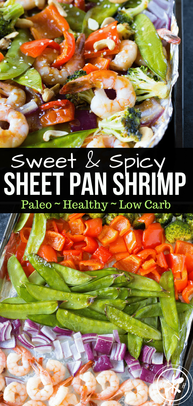 Succulent shrimp, crunchy veggies, doused in a delicious sweet & spicy sauce!  This recipe will have dinner on the table in less than 30 minutes! #paleo #glutenfree #dairyfree  #healthy #healthyliving #healthyfood #healthyeating #healthylifestyle #hungryhobby #dinner