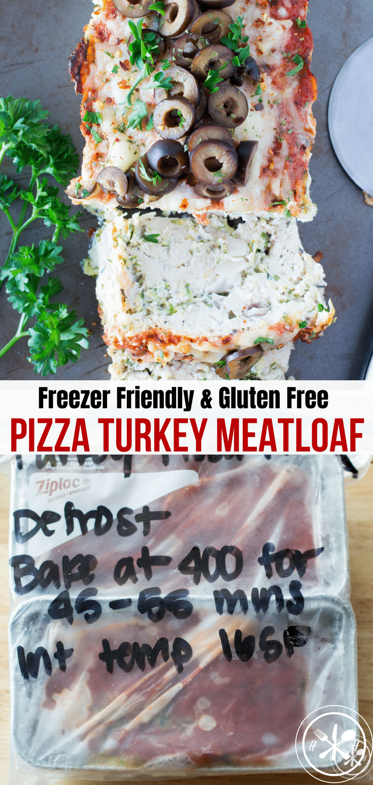 This pizza turkey meatloaf is freezer friendly, gluten free, and super tasty!  If you are sick of the same old meatloaf its time to make a pizza version!