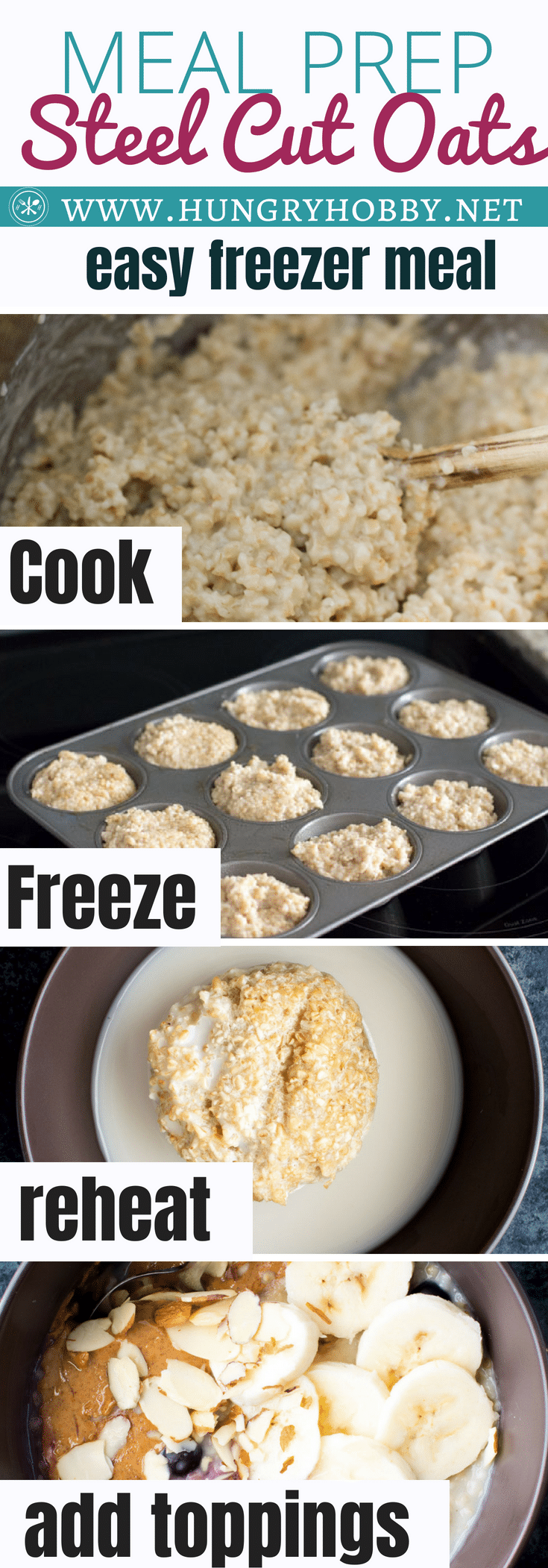 These individual freezer meal prep steel cut oats are the perfect way to be prepared with a healthy breakfast any morning!
