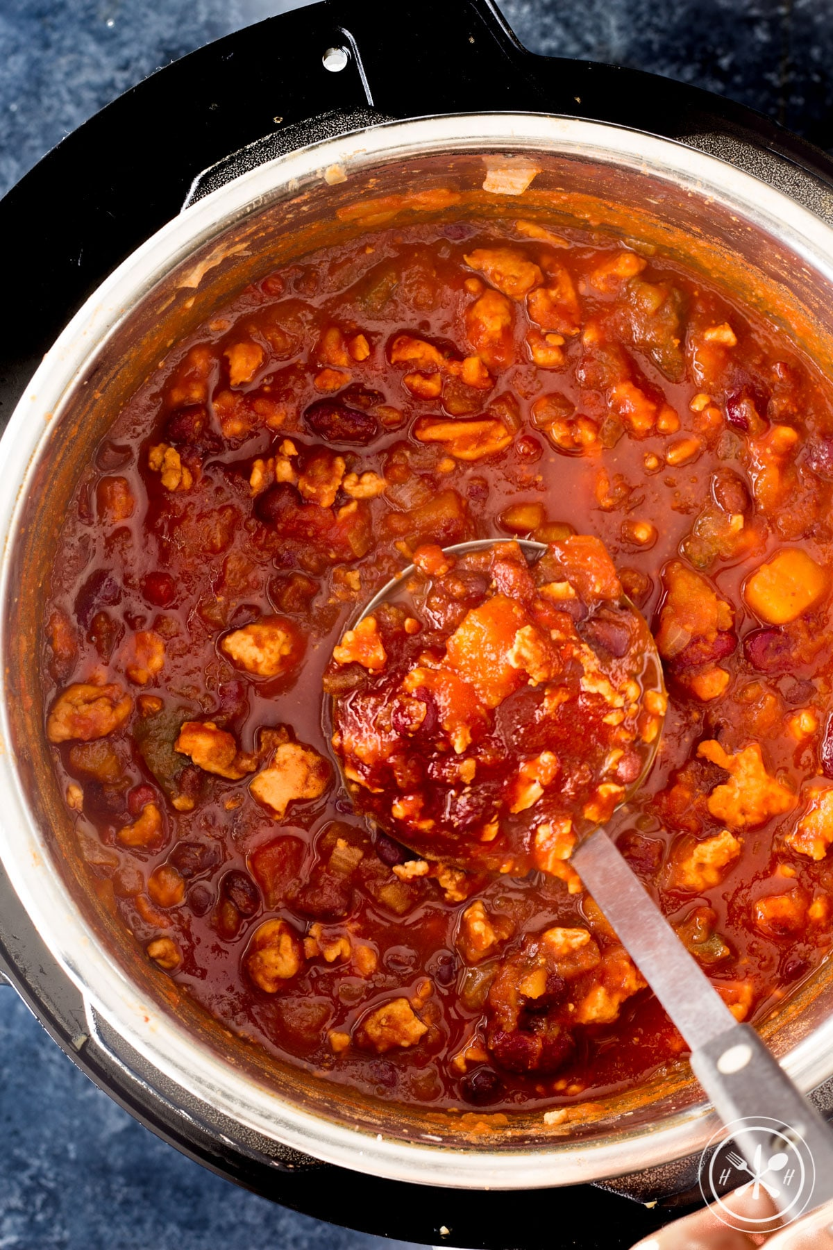 Instant pot turkey chili after cooking.