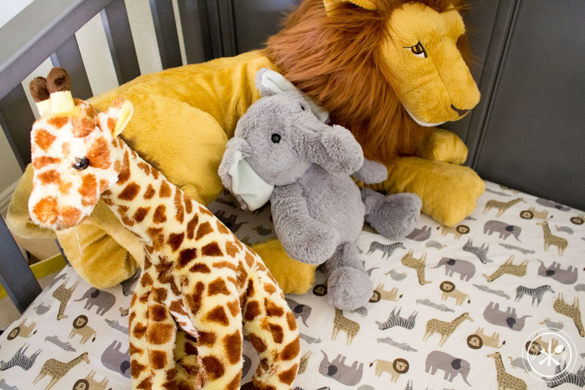 Safari Nursery Crib & Stuffed Animals