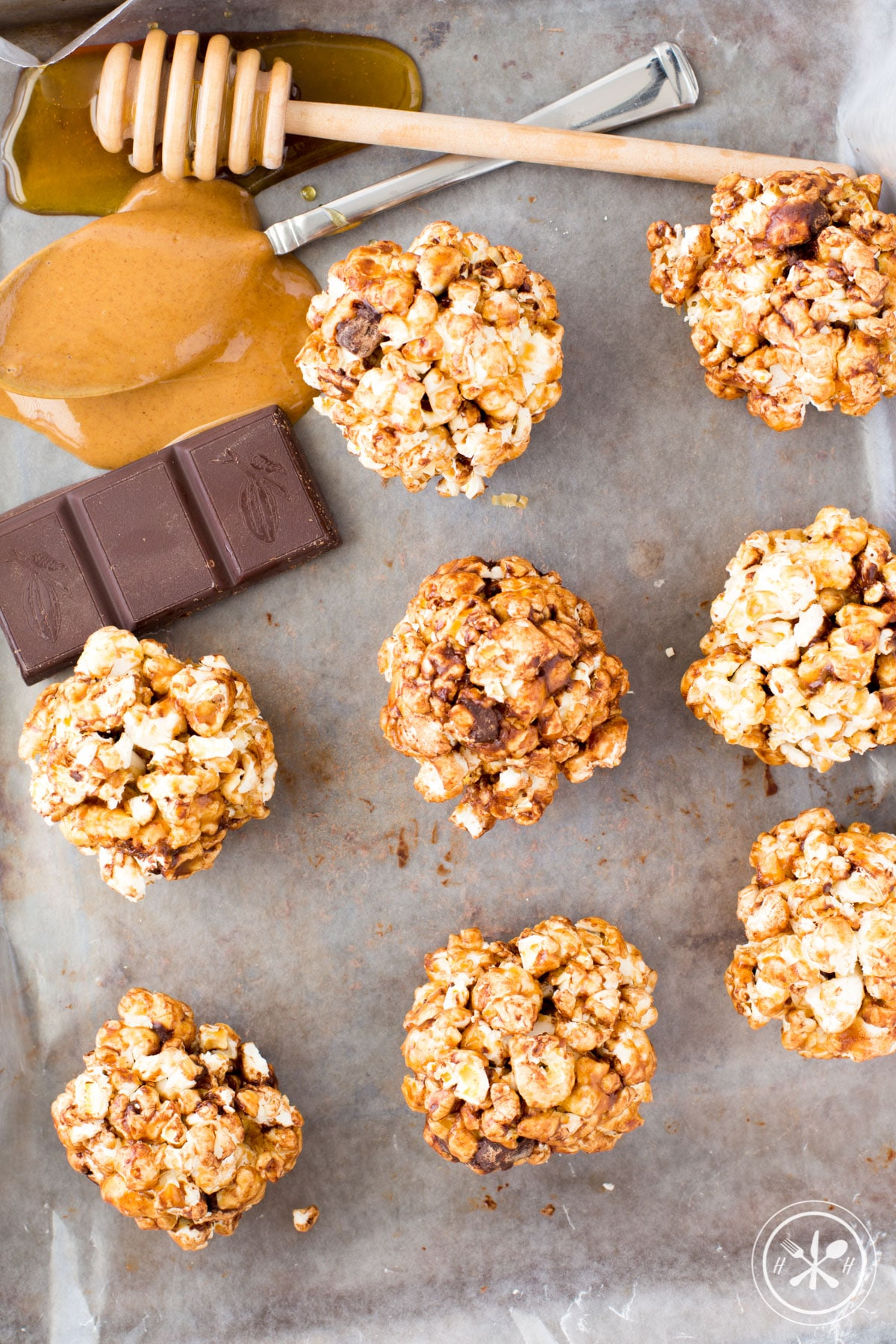 Peanut Butter Chocolate Healthy Popcorn Balls - Hungry Hobby