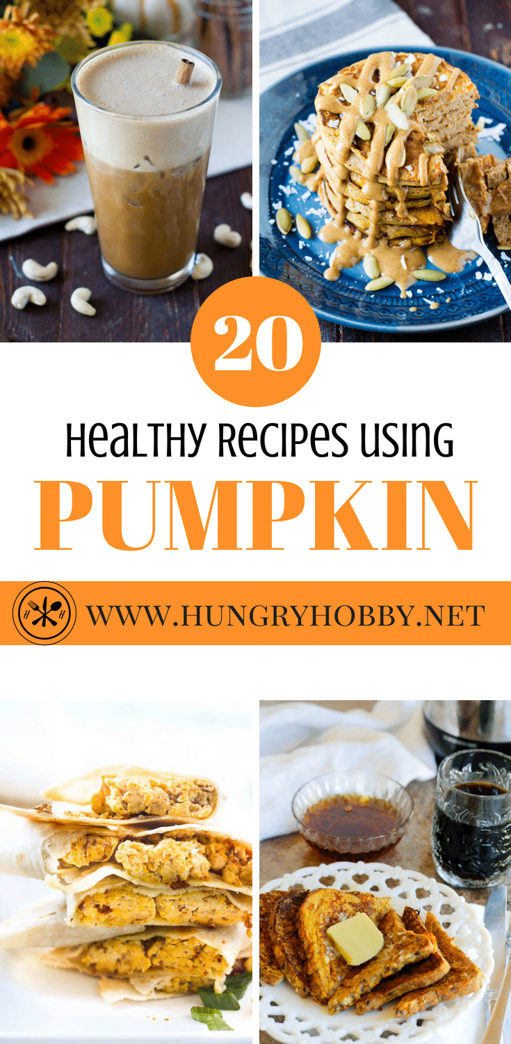 Love pumpkin?  Here are 20 Healthy Pumpkin Recipes that just happen to be gluten-free.  From breakfast to dessert this roundup has you covered with homemade versions of your favorite pumpkin treats! #glutenfree #pumpkin #hungryhobby #recipes #healthy