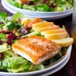 Healthy Fall Salad with Bacon Seared Salmon C;pse I[