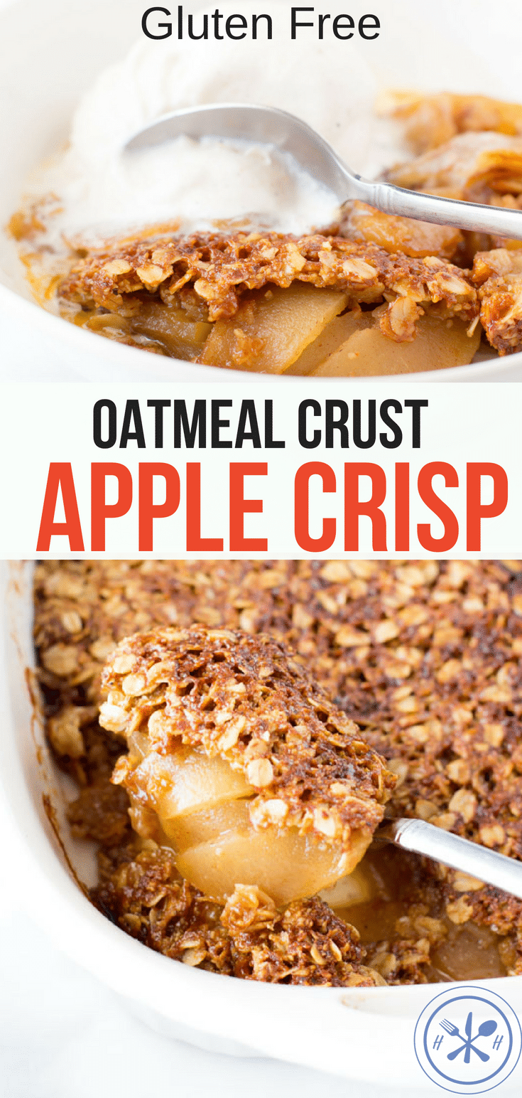 This is my go-to apple crisp recipe filled with tender caramelized apples under a buttery crunchy oatmeal topping that is 100% gluten-free! #glutenfree #healthy #healthyrecipes #healthyfood #healthyliving #healthyeating #healthylifestyle #oatmeal #apples #dessert #glutenfreedessert