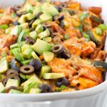 Turkey Sweet Potato Enchilada Casserole