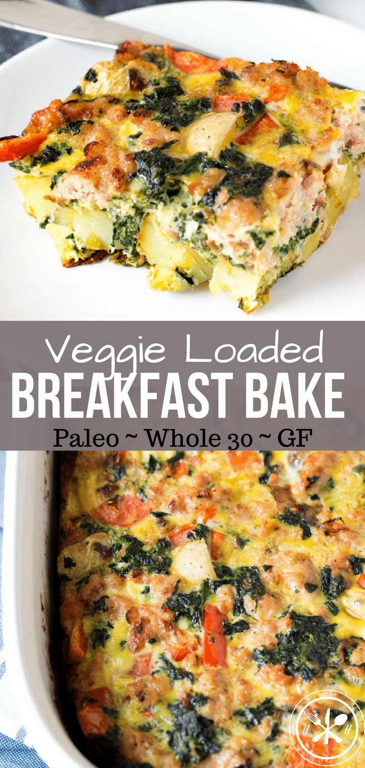 Sick of salad?  This egg bake is LOADED with veggies and roasted potatoes for a healthy breakfast, or lunch.  Perfect to feed a crowd on a holiday morning! #whole30 #paleo #glutenfree #dairyfree #lowcarb #eggs #healthyfood #healthyrecipes #healthyeating #healthyliving #healthylifestyle