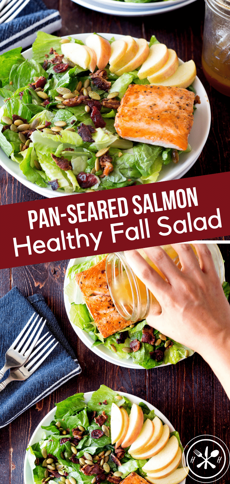 Need a break from the heavy casseroles and rich treats of the fall?  This healthy fall salad with bacon seared salmon is refreshing and super easy to make! #glutenfree #dinner #seafood #salmon #searedsalmon #salad #fall #holiday #hungryhobby #healthyliving #healthyfood #healthyeating