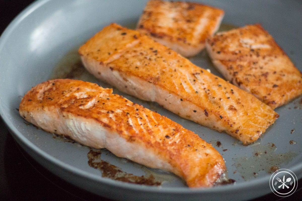 seared salmon in bacon grease