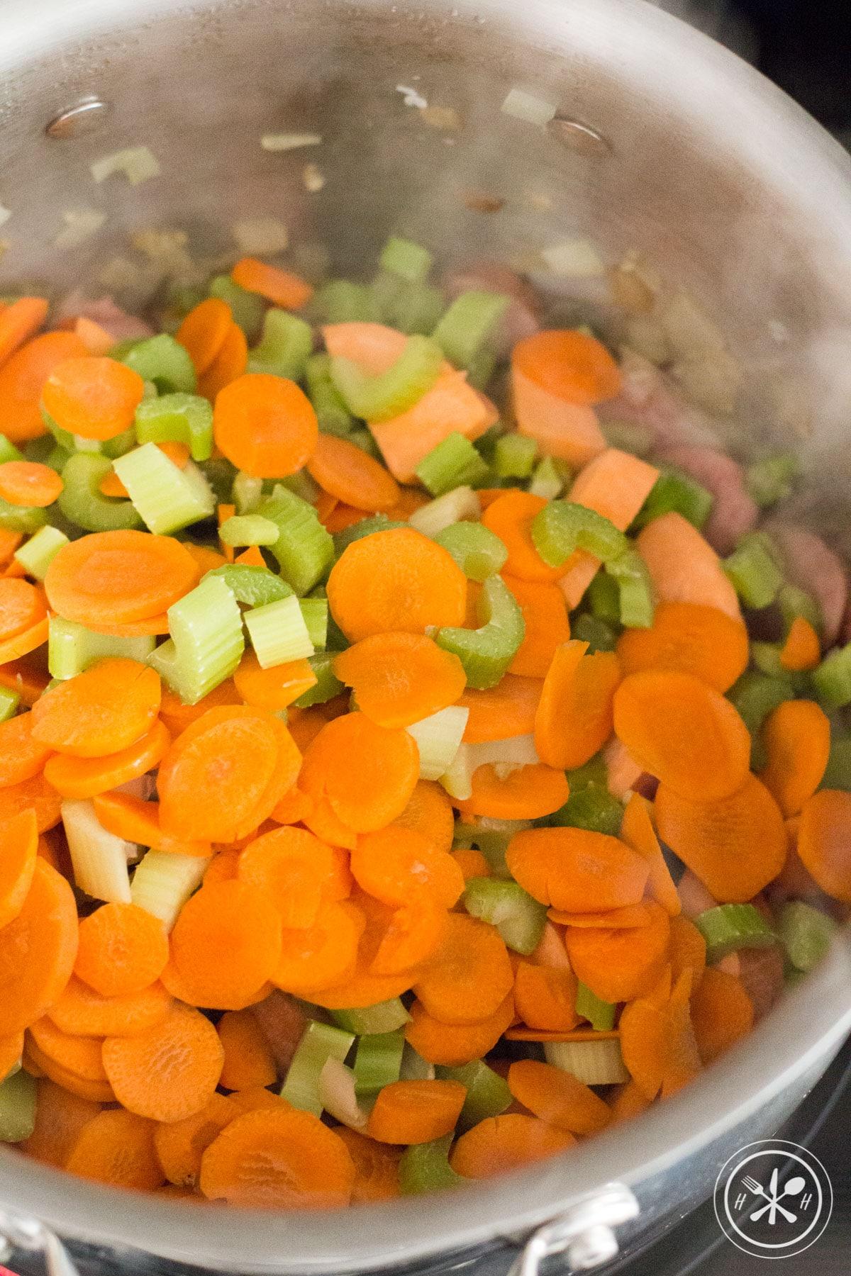 soup cooking with veggies and kielbasa sausage-1