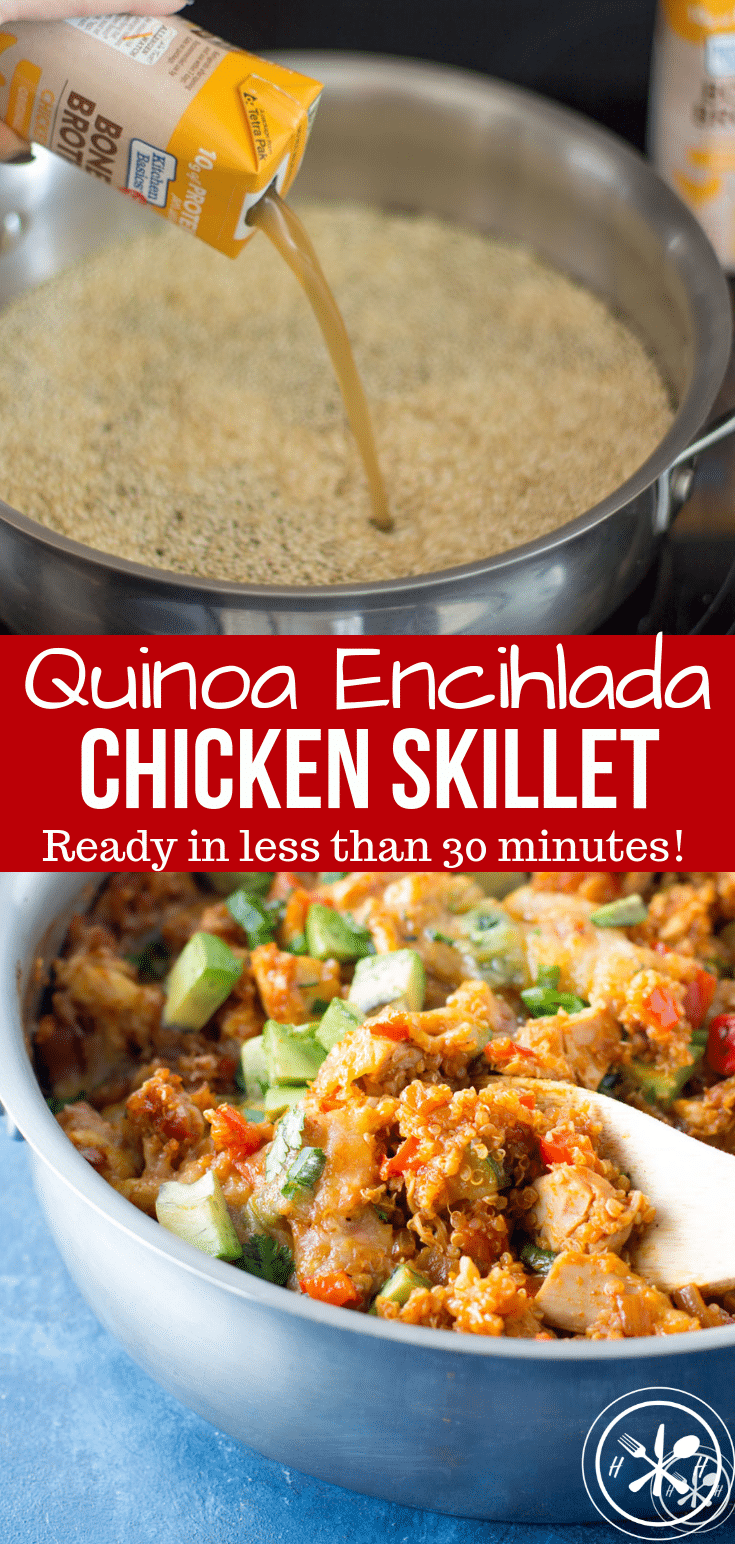 #AD This Quinoa Enchilada Skillet is a flavorful dinner made in less than 30 minutes for the weeknight win!  Gluten Free and Freezer Friendly! #glutenfree #sponsored #NewYearNutrition #dinner #healthy