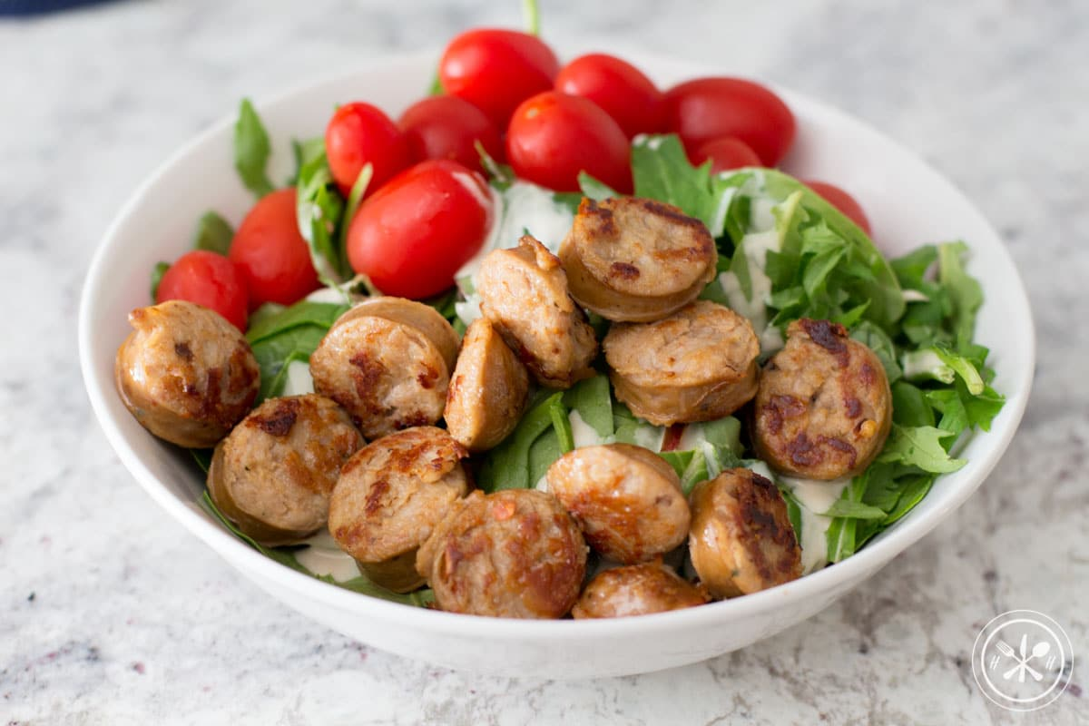 sausage salad with tahini dressing-1