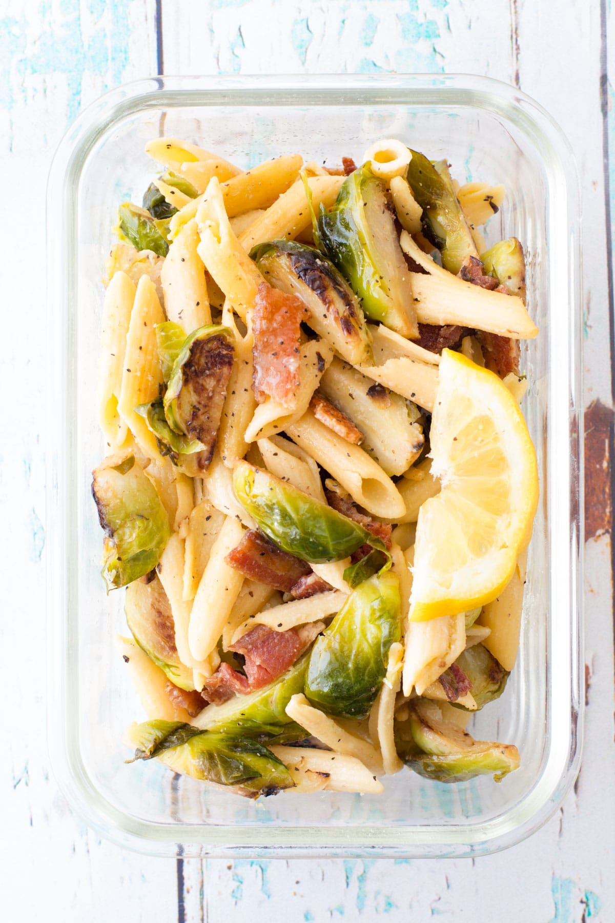 bacon brussel sprout chickpea pasta