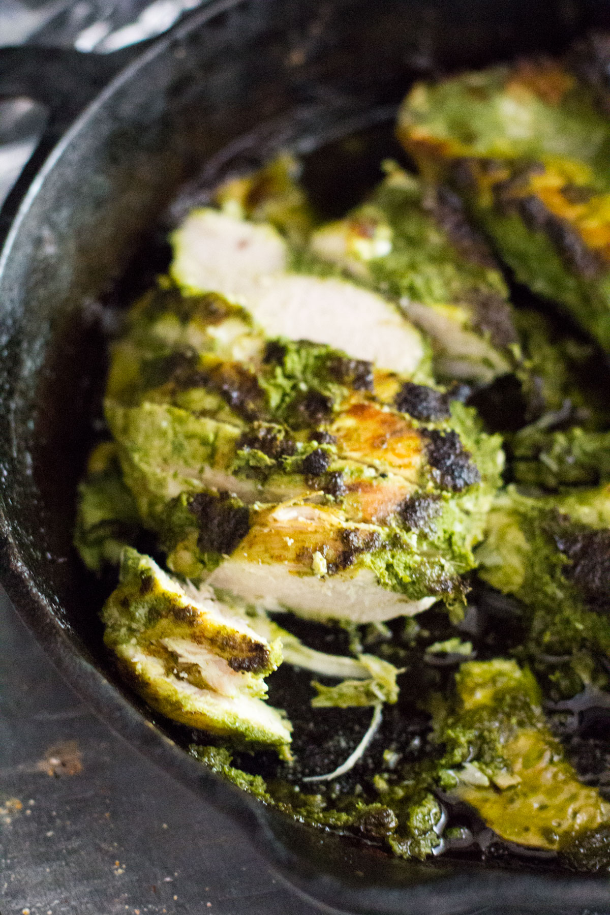 chimichurri chicken in cast iron skillet baked-1