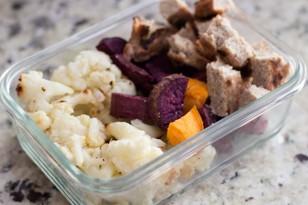 turkey burger meal prep bowls with cauliflower and sweet potatoes