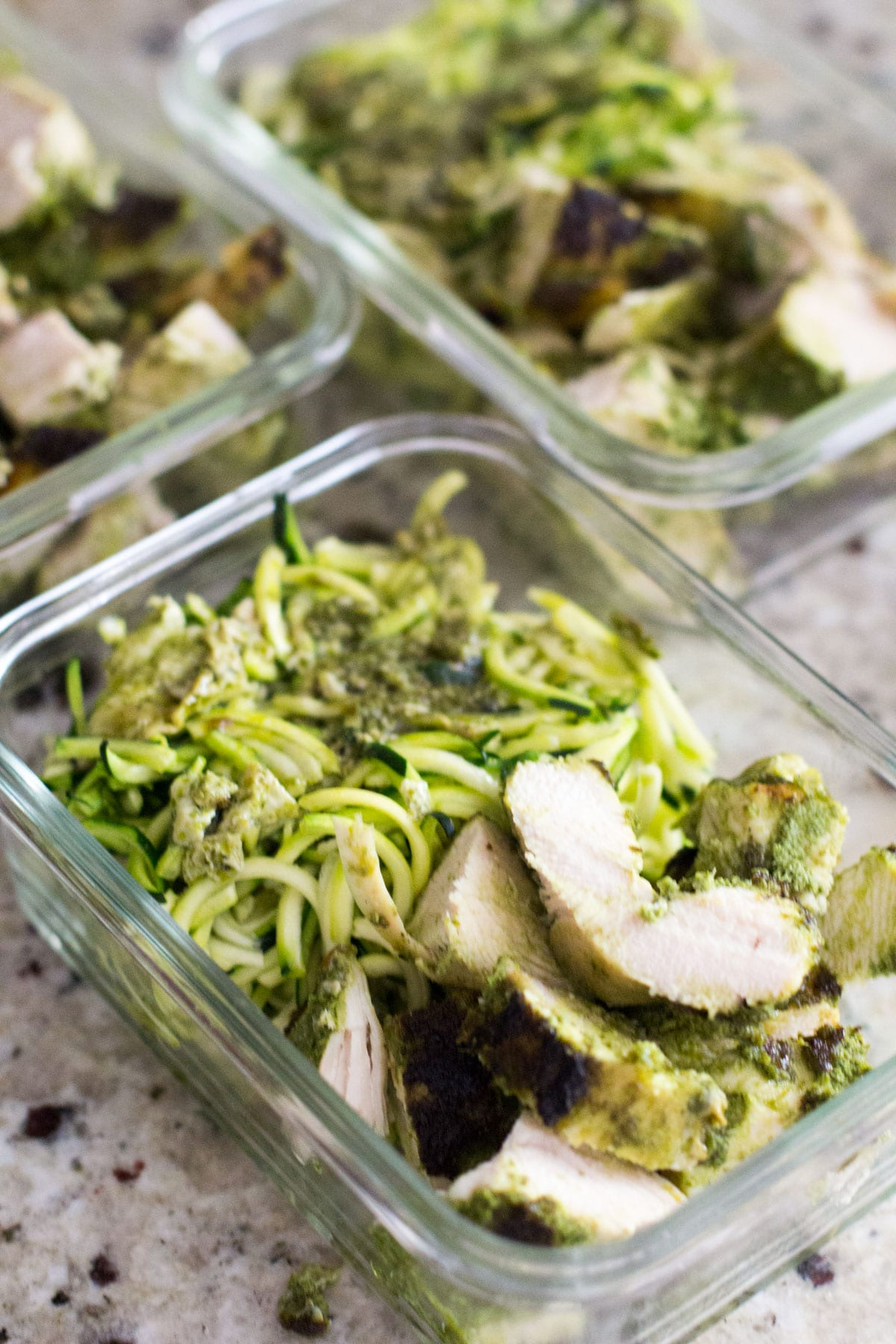 meal prep chimichurri chicken and zucchini noodles