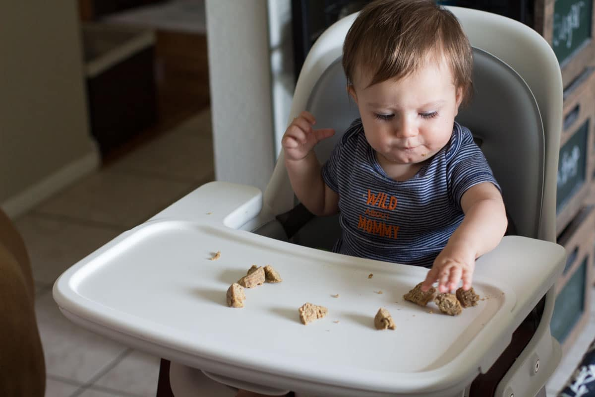 8 Month Old Baby Eating Coconut Oil Banana Muffin