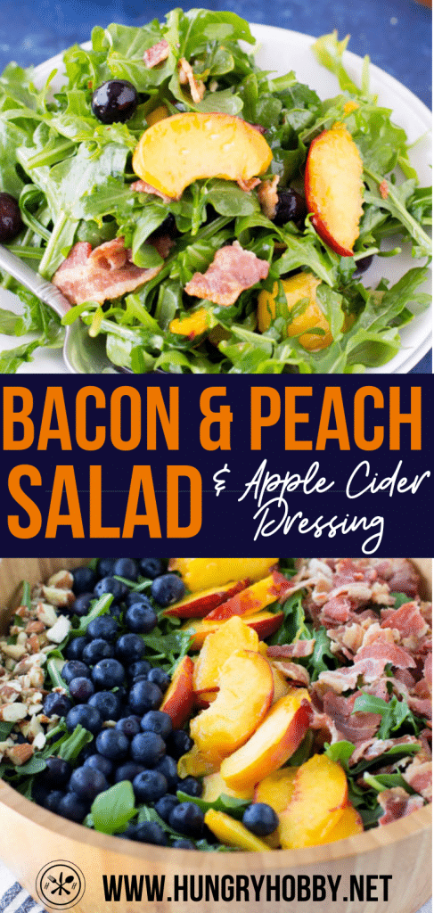 bacon and peach salad with apple cider vinaigrette dressing