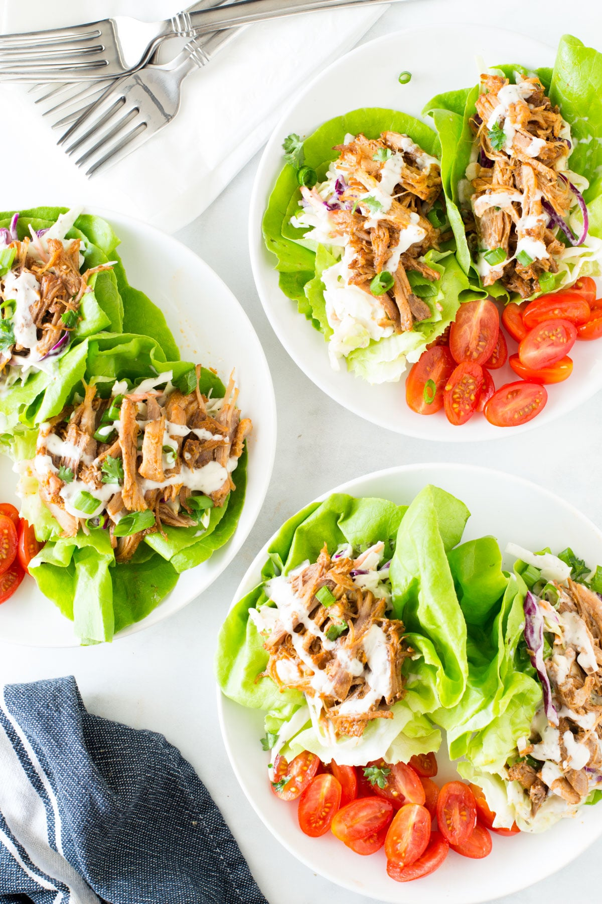 Pulled Pork Lettuce Tacos with Healthy Coleslaw