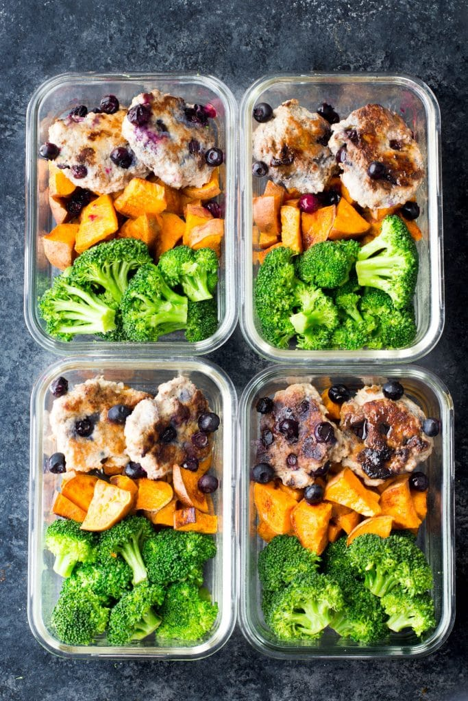 These blueberry turkey breakfast sausage bowls with cinnamon sweet potatoes and broccoli are a delicious breakfast meal prep option to power your mornings! paleo, gluten-free, dairy-free, egg-free, breakfast, meal prep breakfast ideas, meal prep breakfast sausage, breakfast meal prep, healthy breakfast meal prep, turkey breakfast sausage