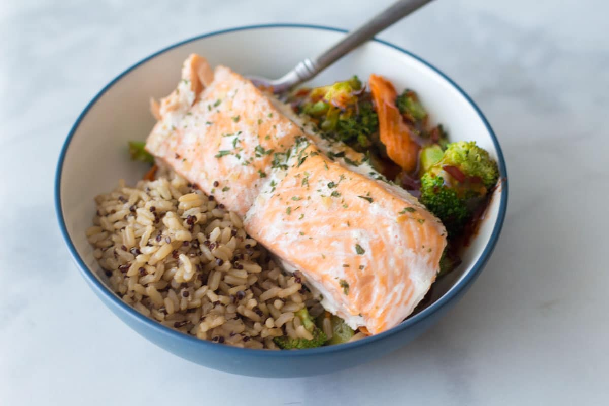 salmon veggies and rice