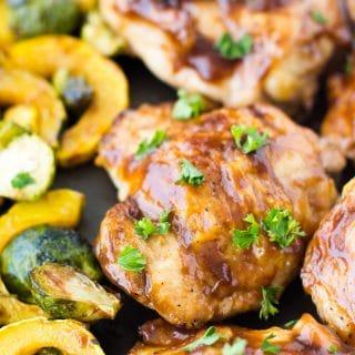 Maple Balsamic Glazed Chicken Sheet Pan Dinne
