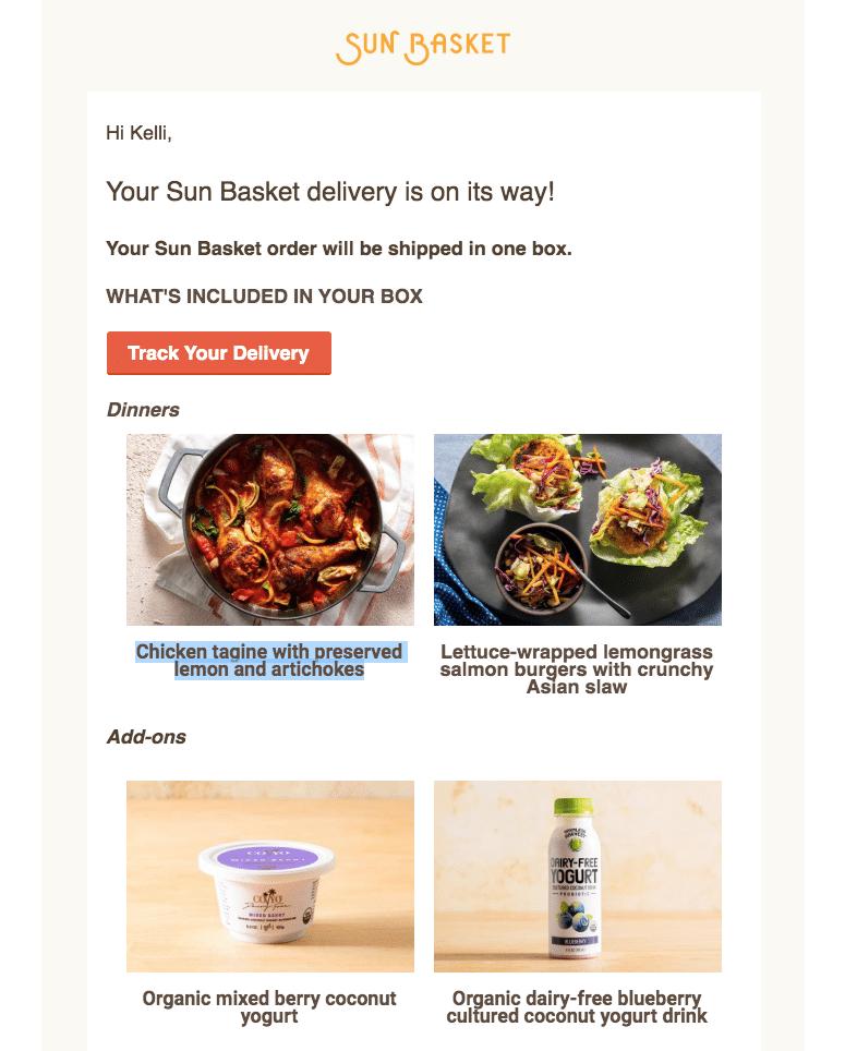 sun basket week 3 delivery notifcation